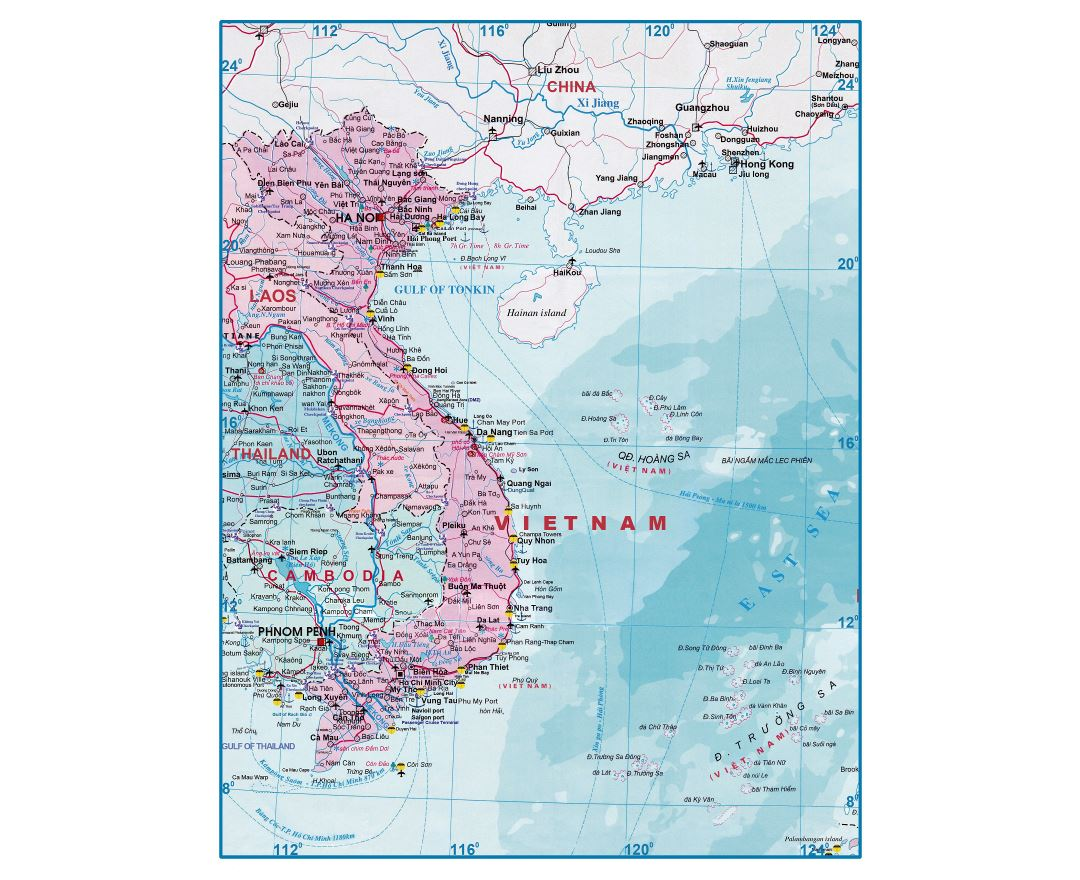 Large detailed tourist map of Vietnam and Laos