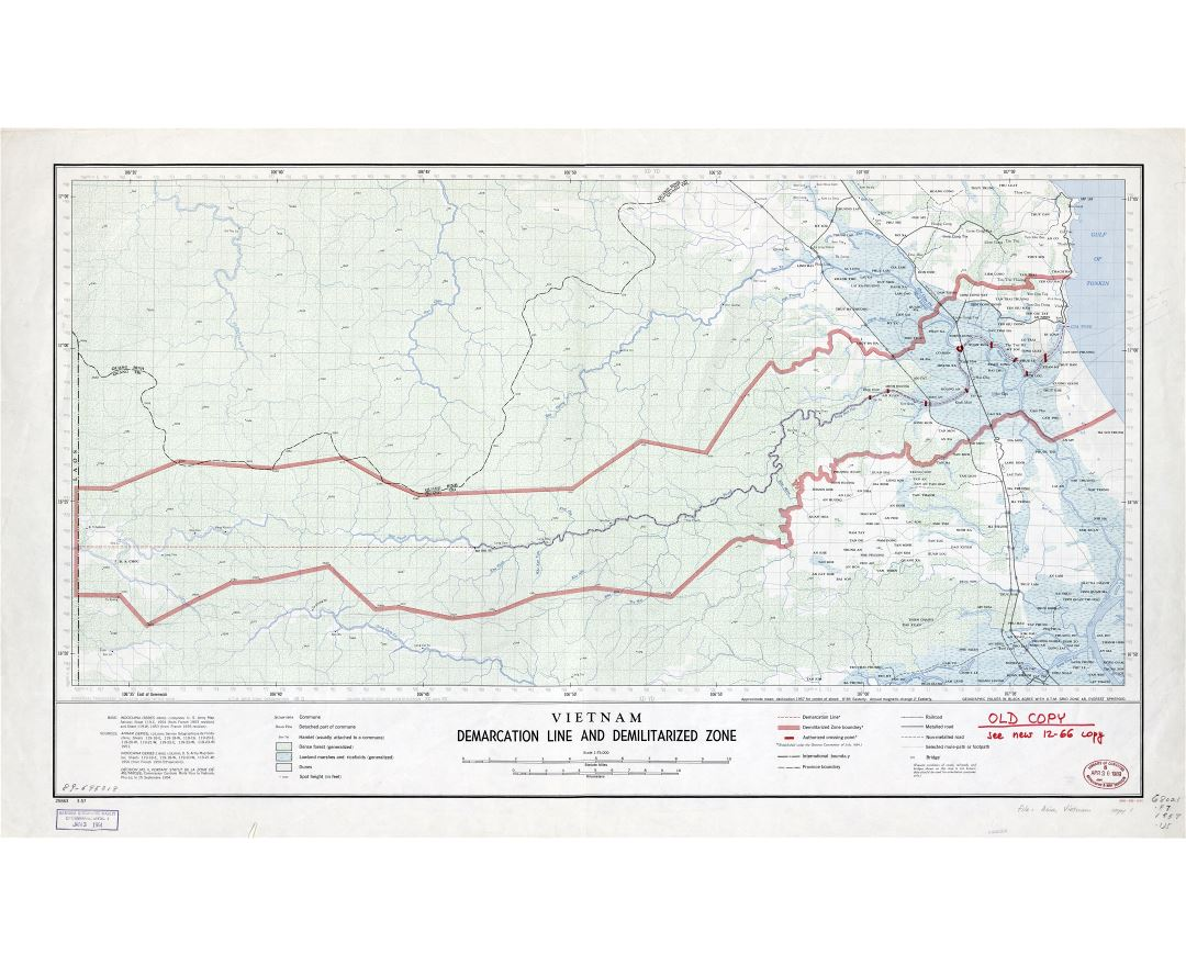 Large detailed Vietnam Demarcation Line and Demilitarized Zone map - 1957