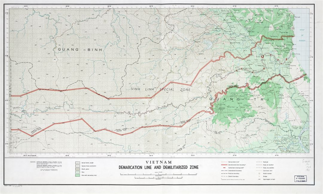 Large detailed Vietnam Demarcation Line and Demilitarized Zone map - 1966