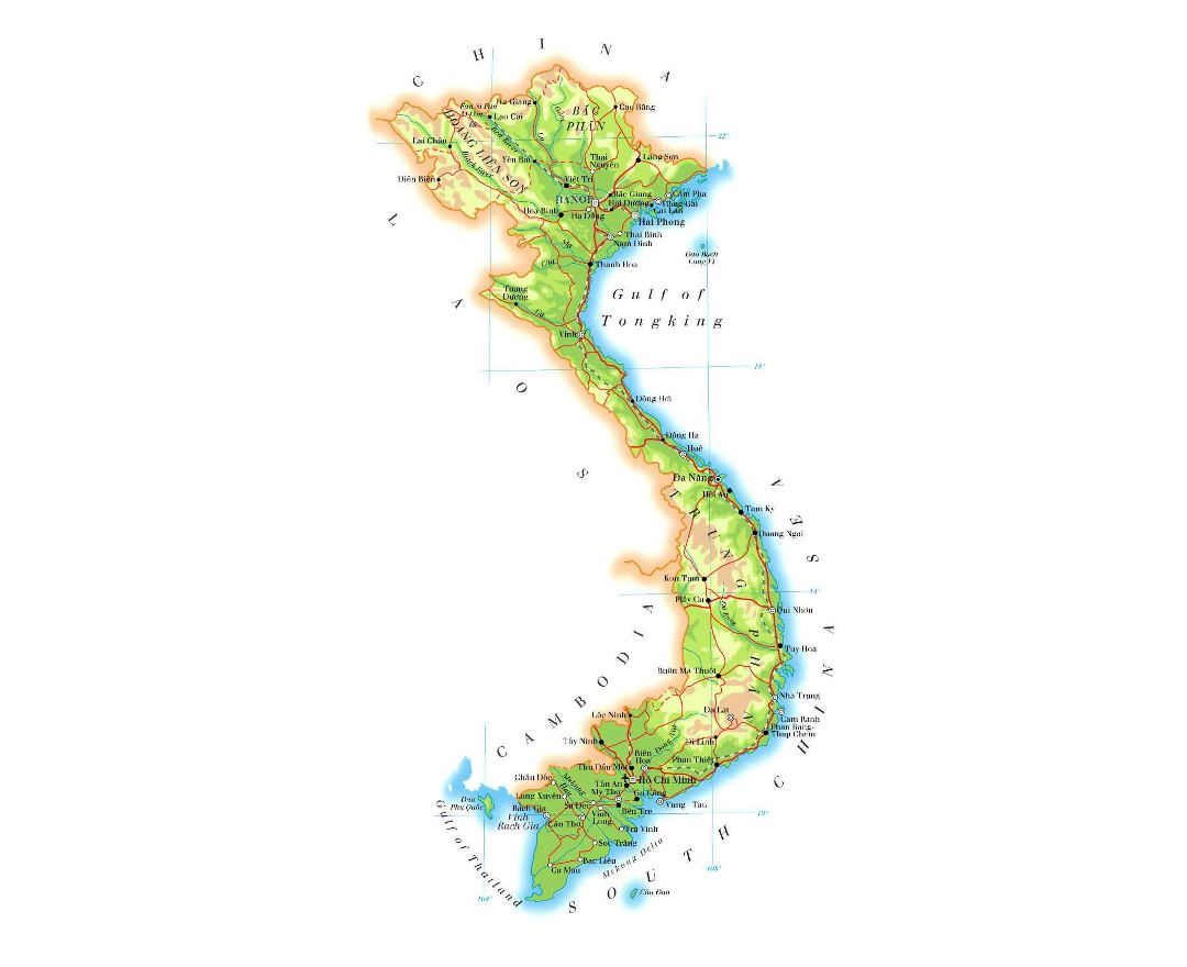 Large elevation map of Vietnam with roads, railroads, major cities and airports