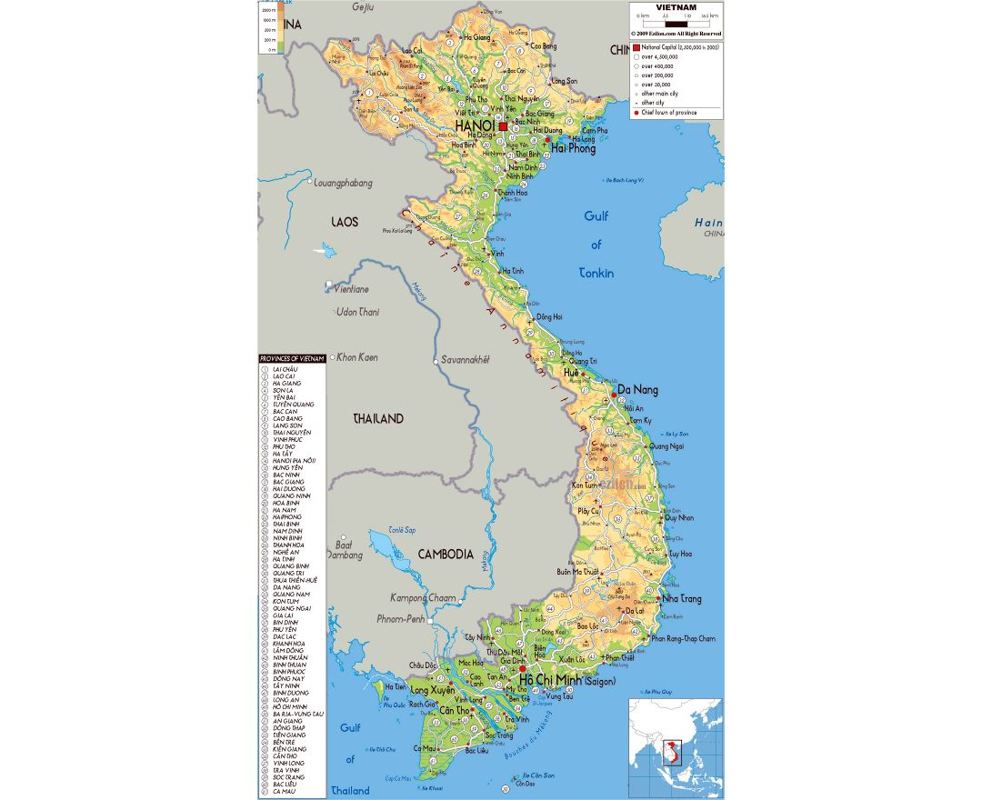 Large physical map of Vietnam with all roads, cities and airports