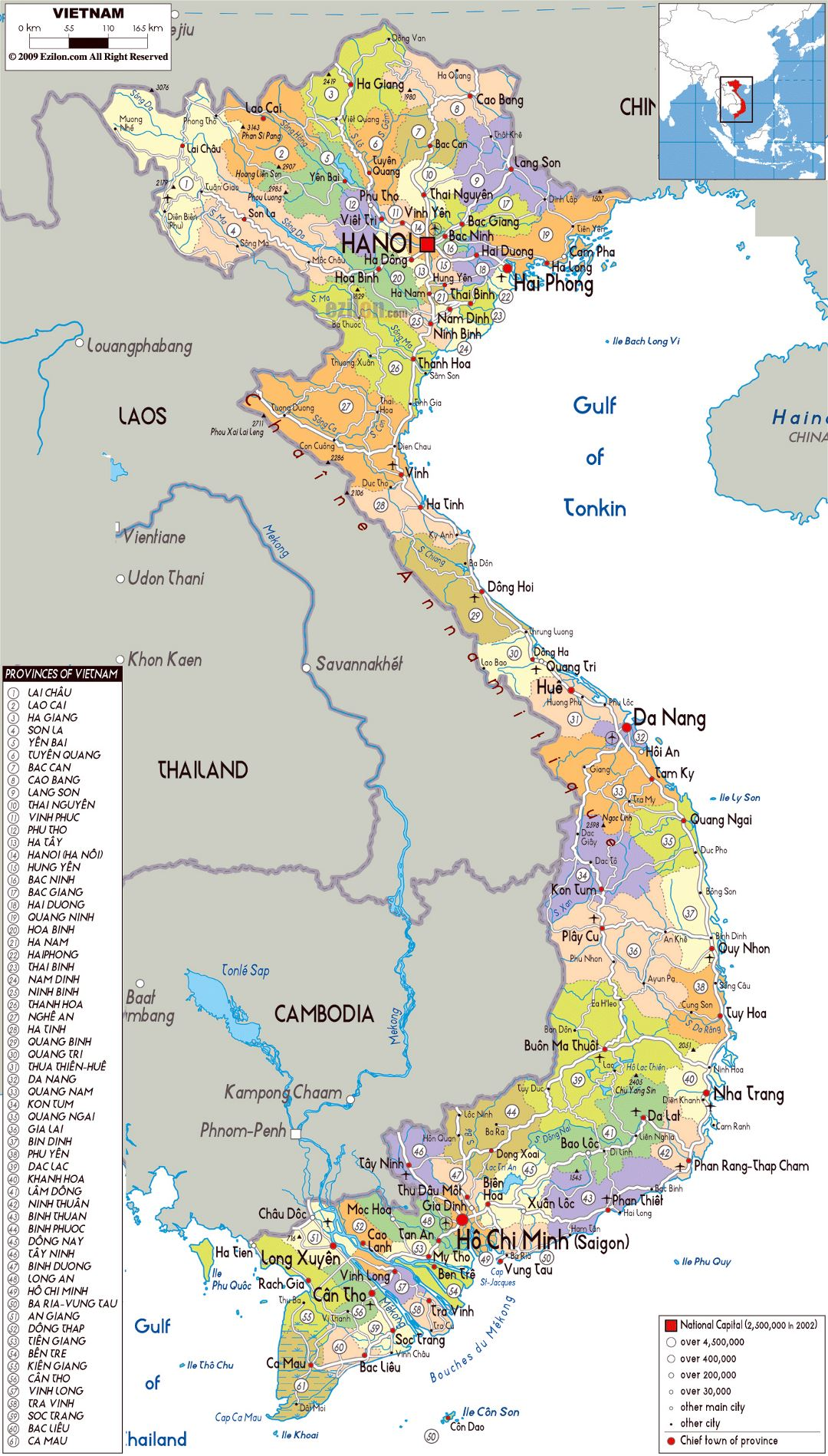 Large political and administrative map of Vietnam with all roads, cities and airports