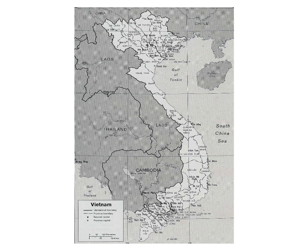 Large political and administrative map of Vietnam with other marks