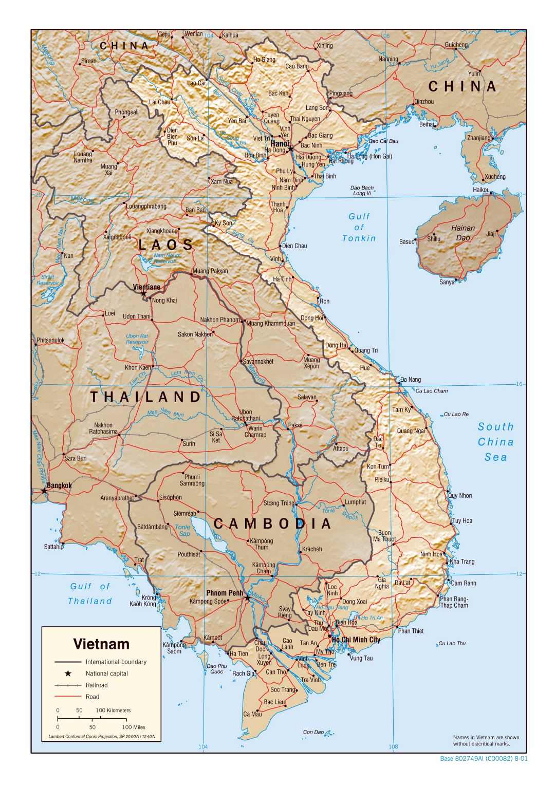 Large political map of Vietnam with relief, roads, railroads and major cities - 2001