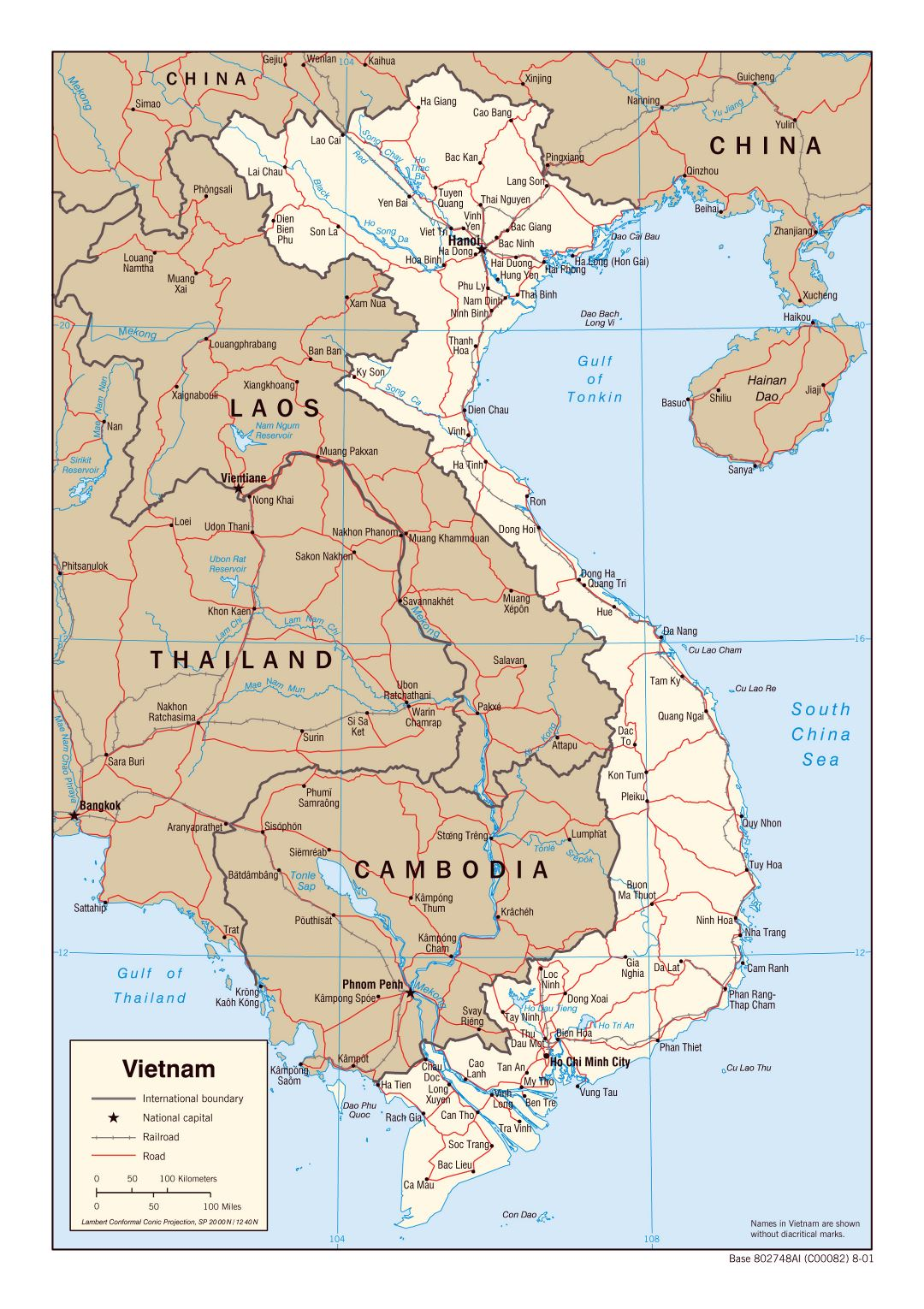 Large political map of Vietnam with roads, railroads and major cities - 2001