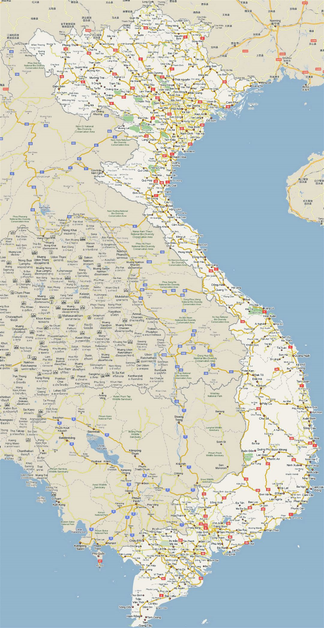 Large road map of Vietnam with all cities