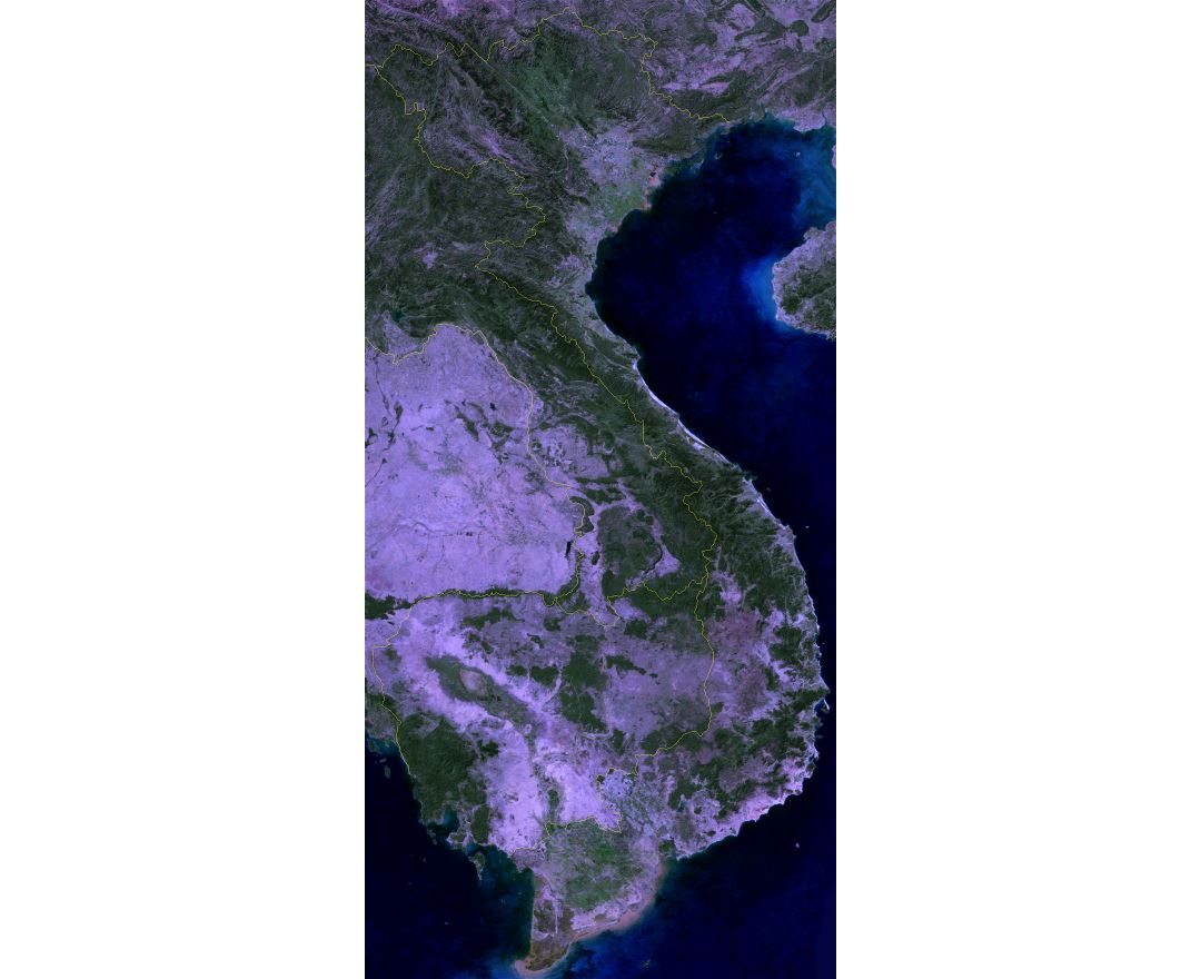 Large satellite map of Vietnam