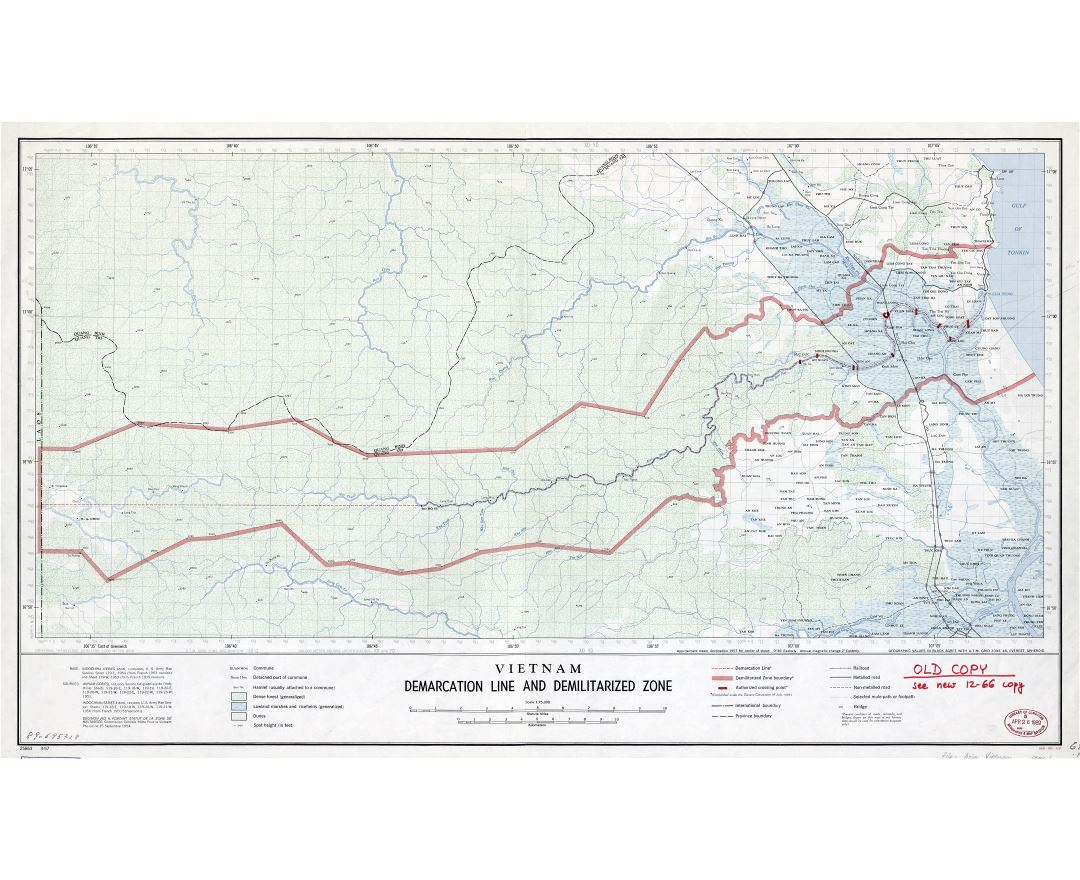Large scale detailed map of Vietnam Demarcation Line and Demilitarized Zone - 1957