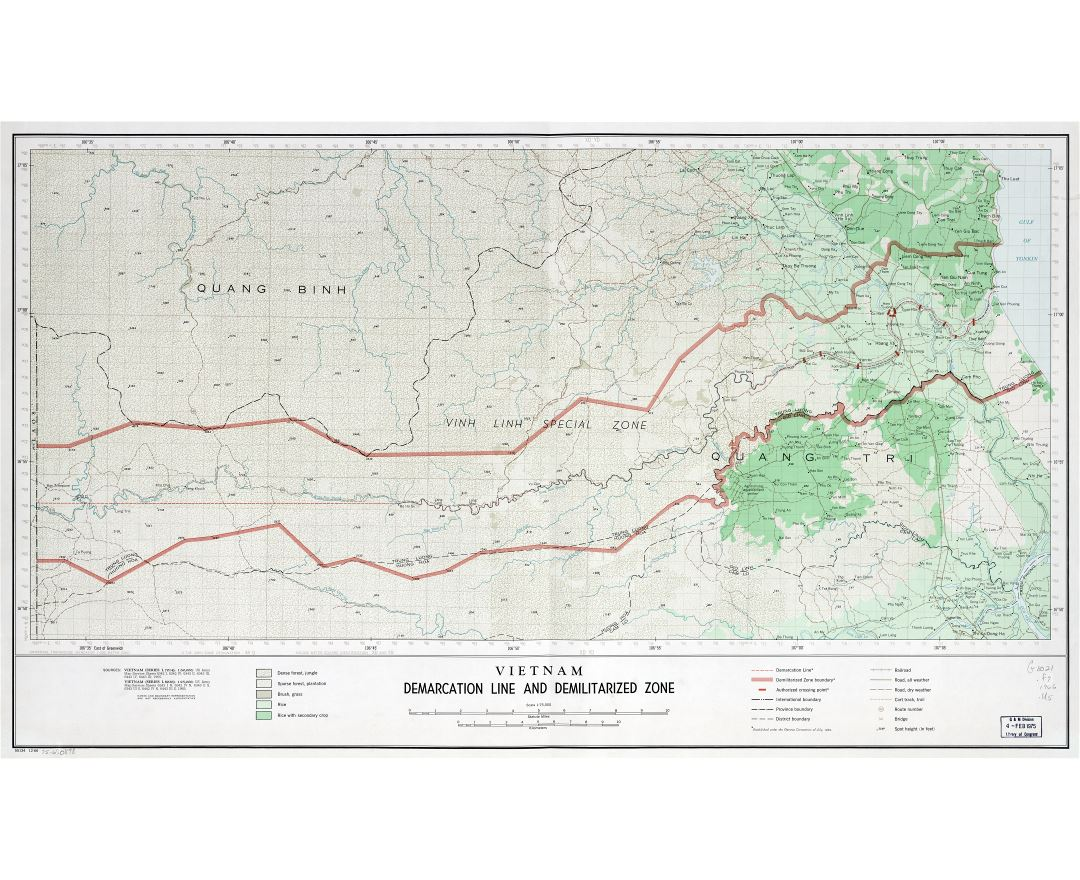 Large scale detailed map of Vietnam Demarcation Line and Demilitarized Zone - 1966