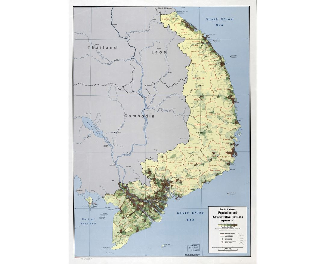 Large scale South Vietnam population and administrative divisions map - 1973