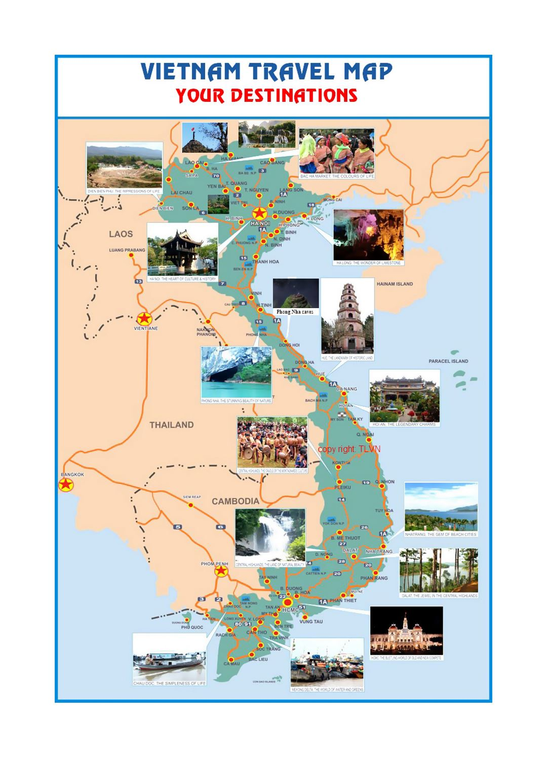 Travel map of Vietnam | Vietnam | Asia | Mapsland | Maps of the World