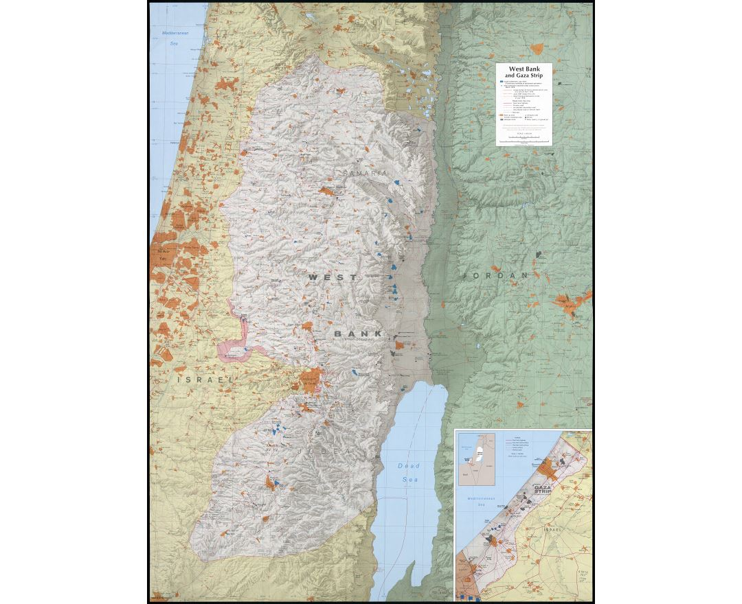 Large scale detailed map of West Bank and Gaza Strip with relief and other marks - 1979