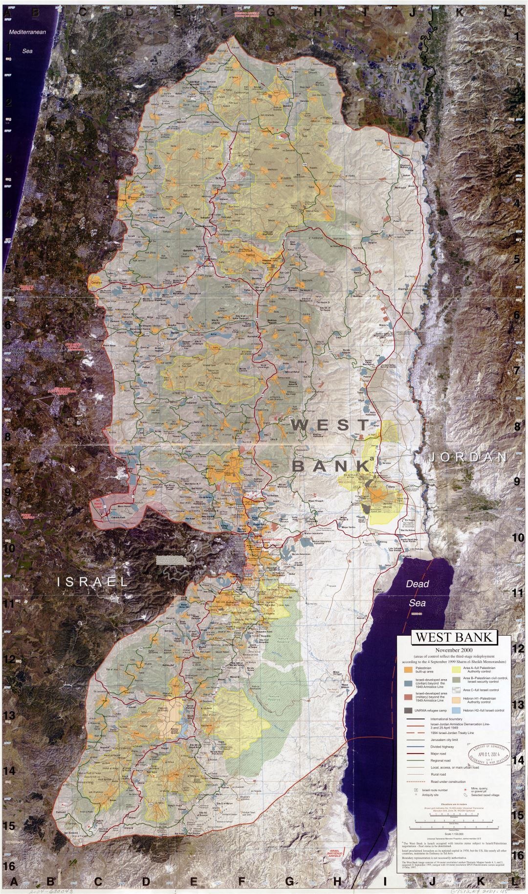 Large scale detailed map of West Bank with other marks - 2001
