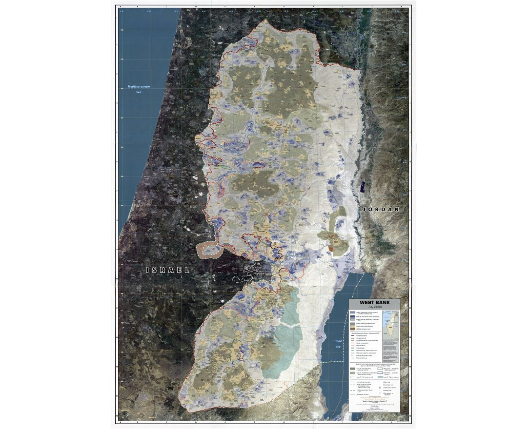 Large scale detailed map of West Bank with other marks - 2008