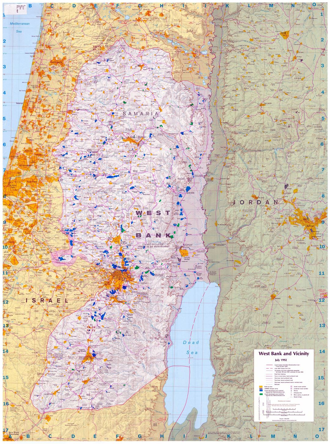 Large scale map of West Bank and vicinity - 1992