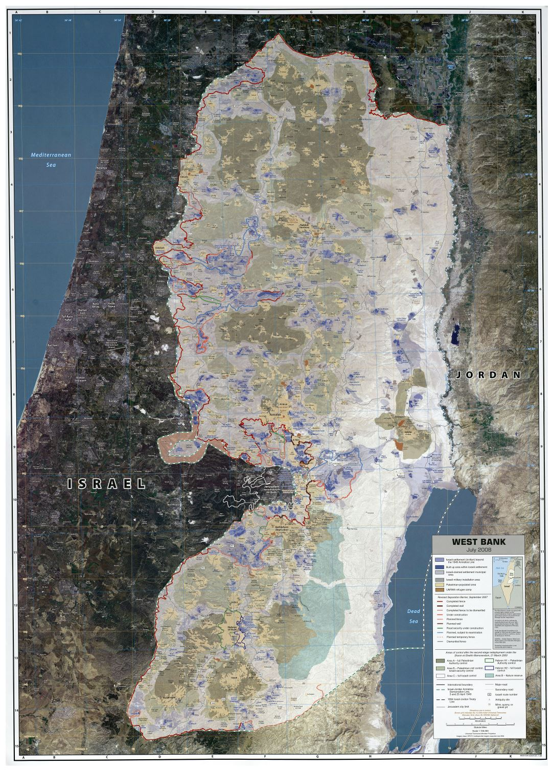 Large scale map of West Bank with other marks - 2008