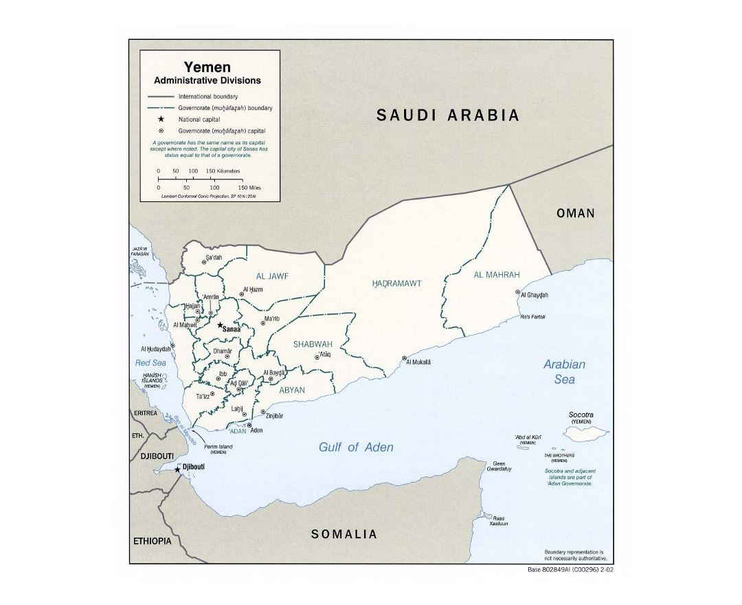Detailed administrative divisions map of Yemen - 2002