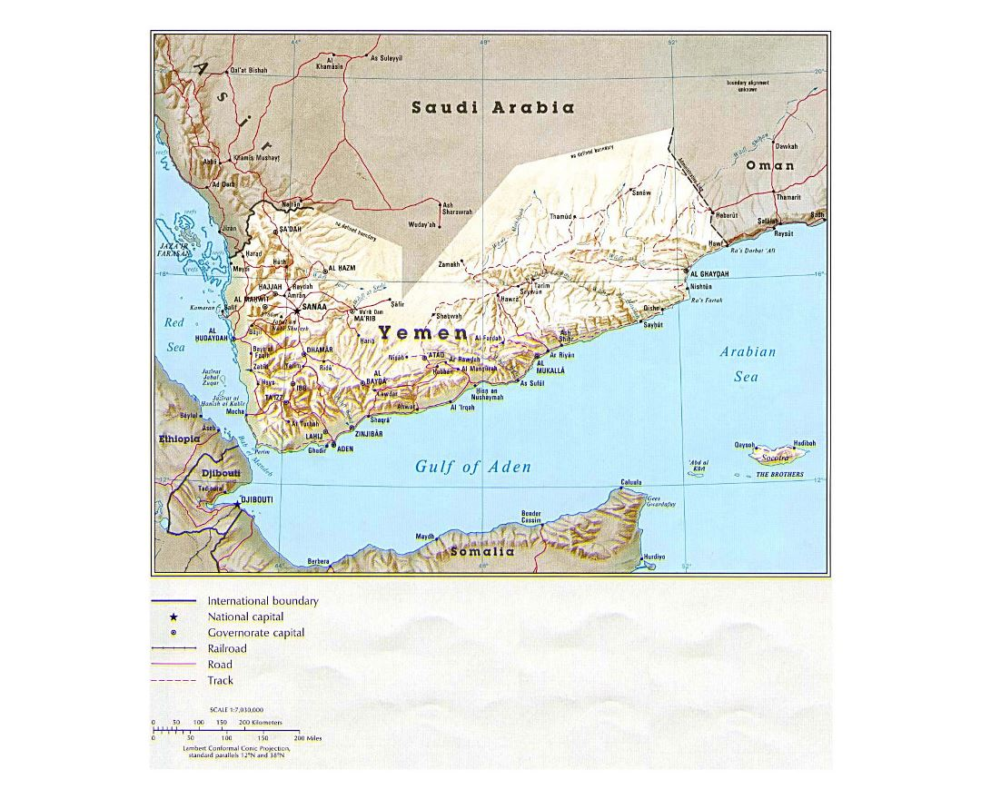 Detailed political map of Yemen with relief, roads, railroads and major cities - 1993