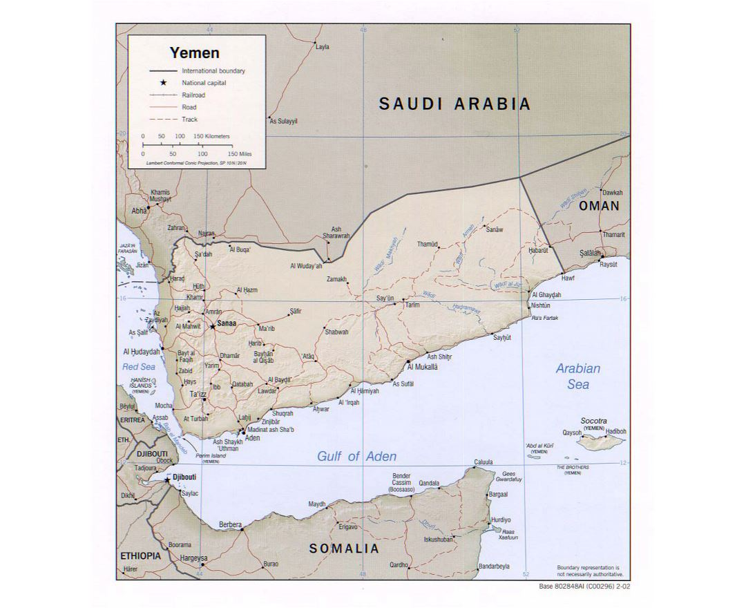 Detailed political map of Yemen with relief, roads, railroads and major cities - 2002