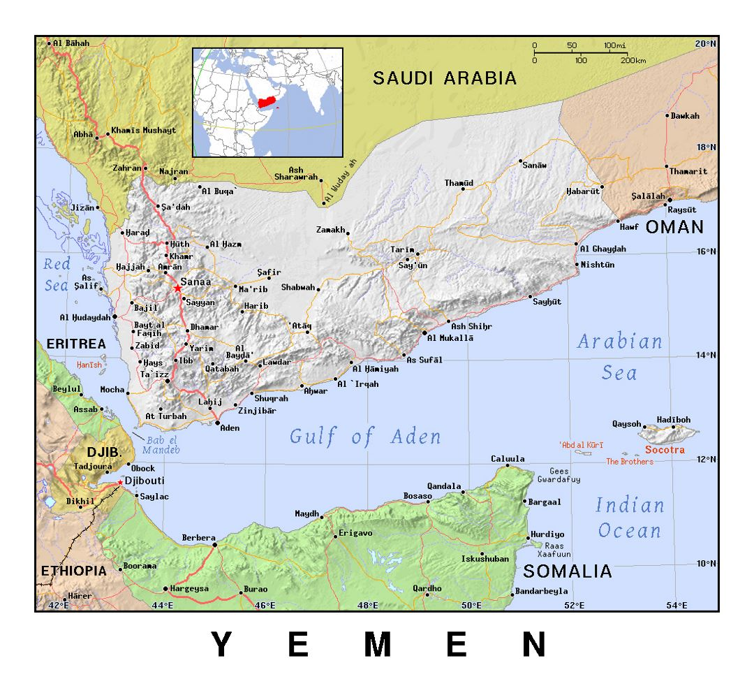 Detailed political map of Yemen with relief