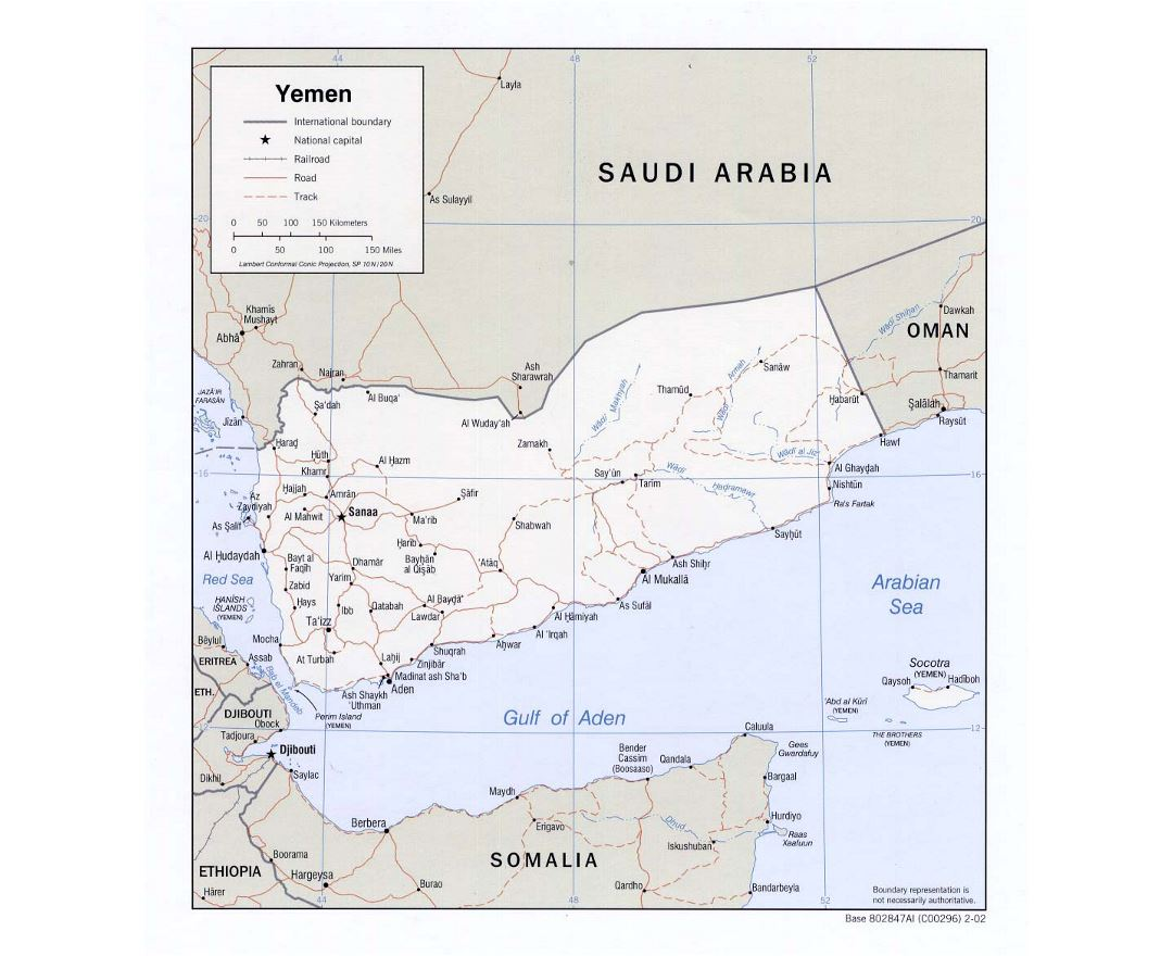 Detailed political map of Yemen with roads, railroads and major cities - 2002