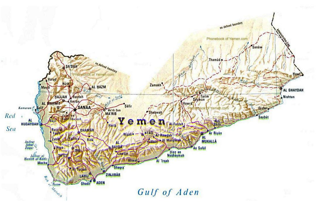 Detailed relief map of Yyemen