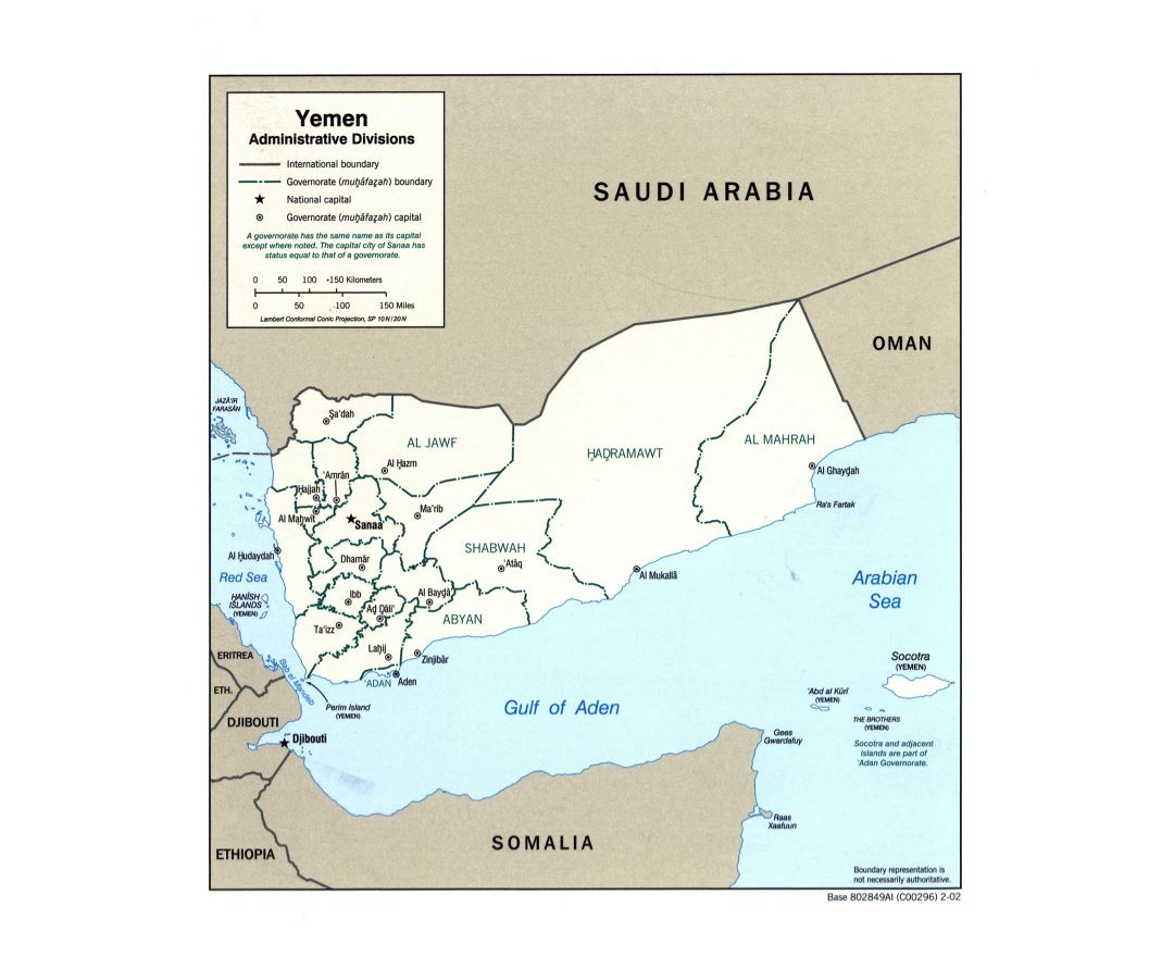 Large detailed administratrive divisions map of Yemen - 2002