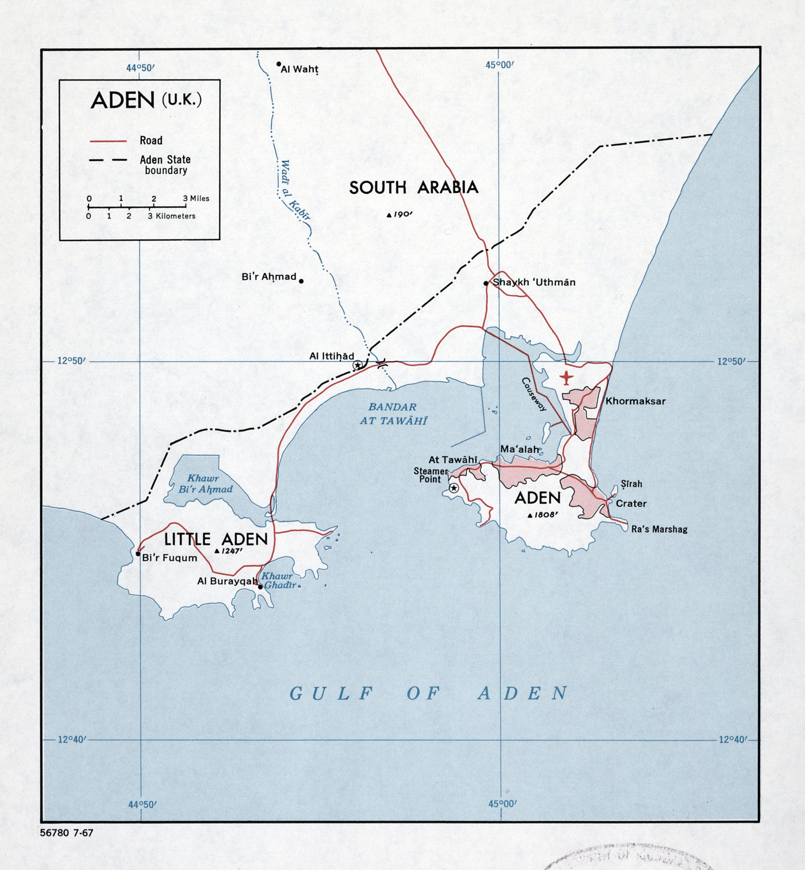Large detailed map of Aden UK with roads 1967 Yemen Asia