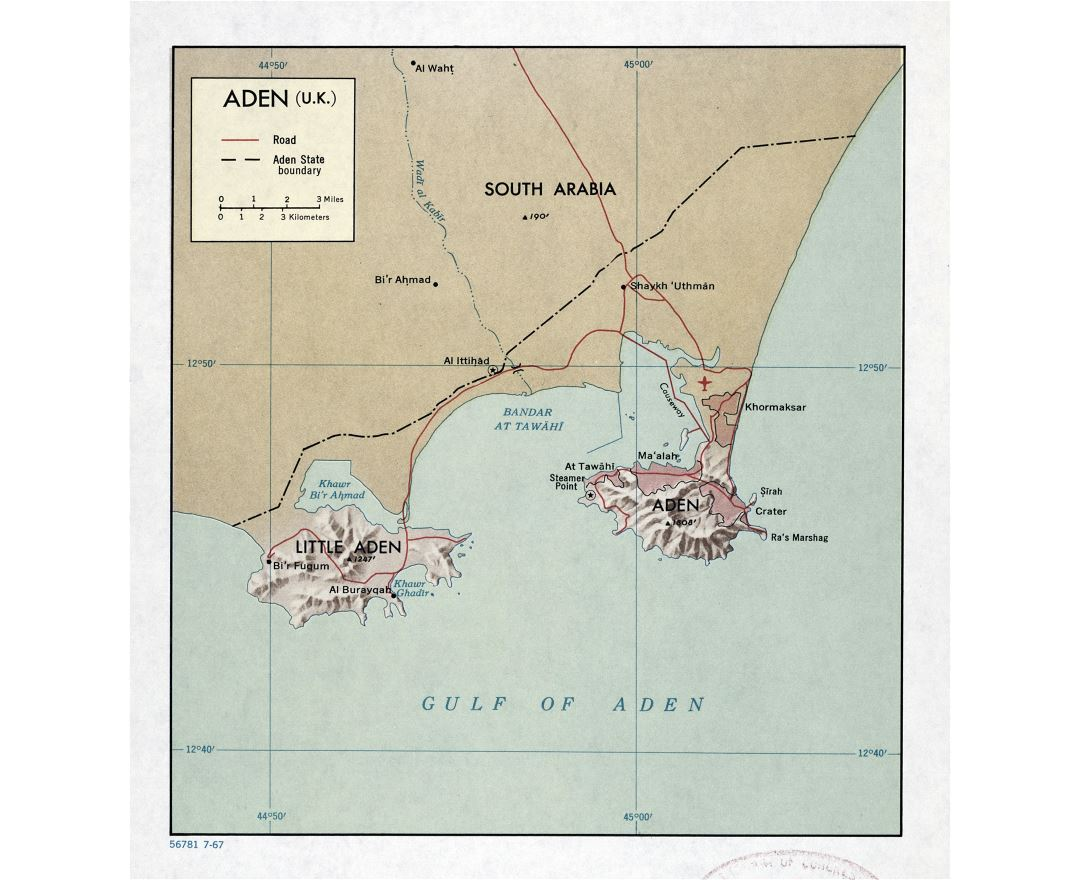 Large detailed map of Aden (U.K.) with relief and roads - 1967