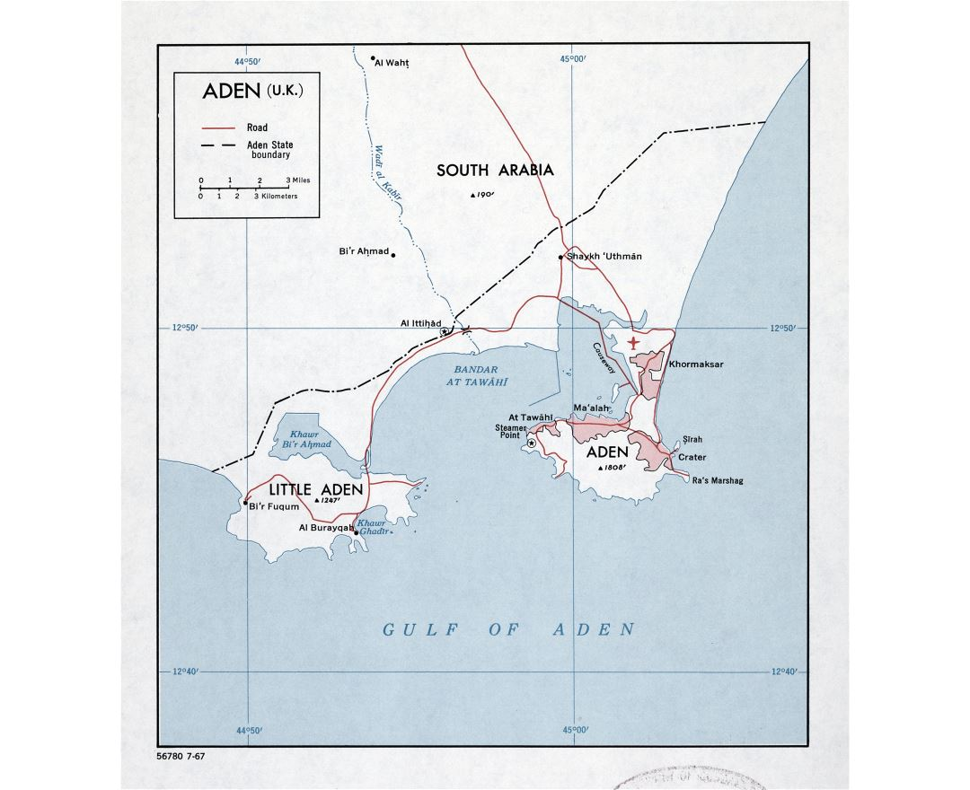 Large detailed map of Aden (U.K.) with roads - 1967