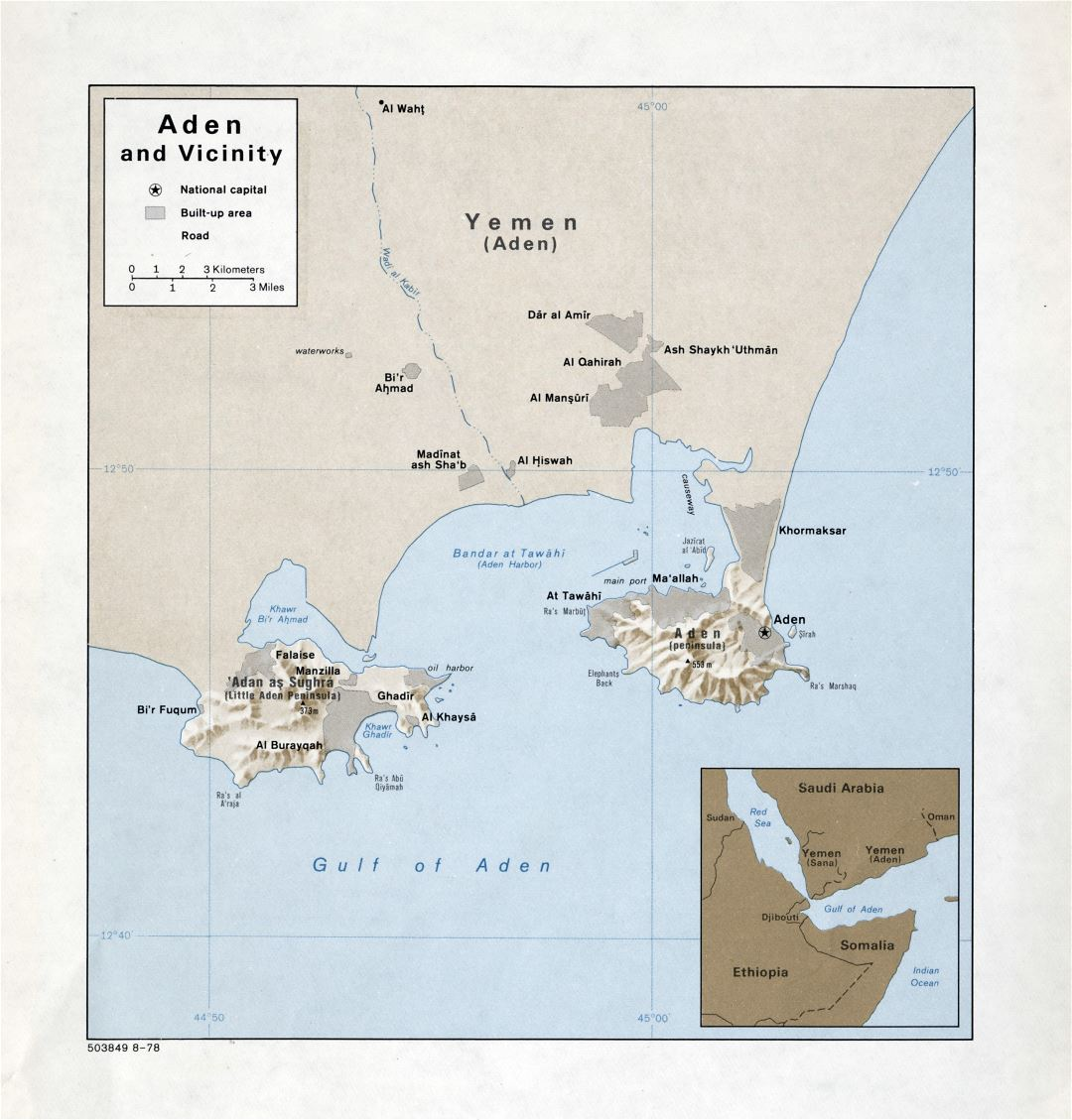 Large detailed map of Aden and vicinity with relief - 1978