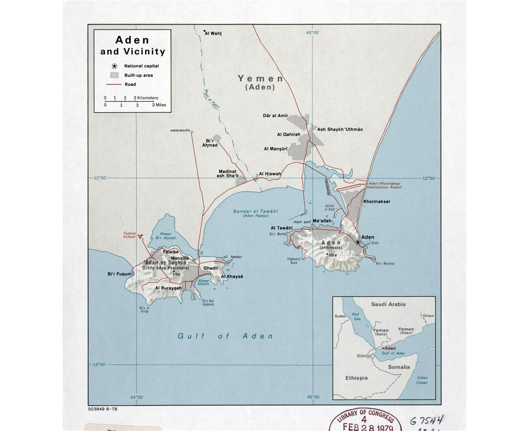 Large detailed map of Aden and vicinity with relief and roads - 1978