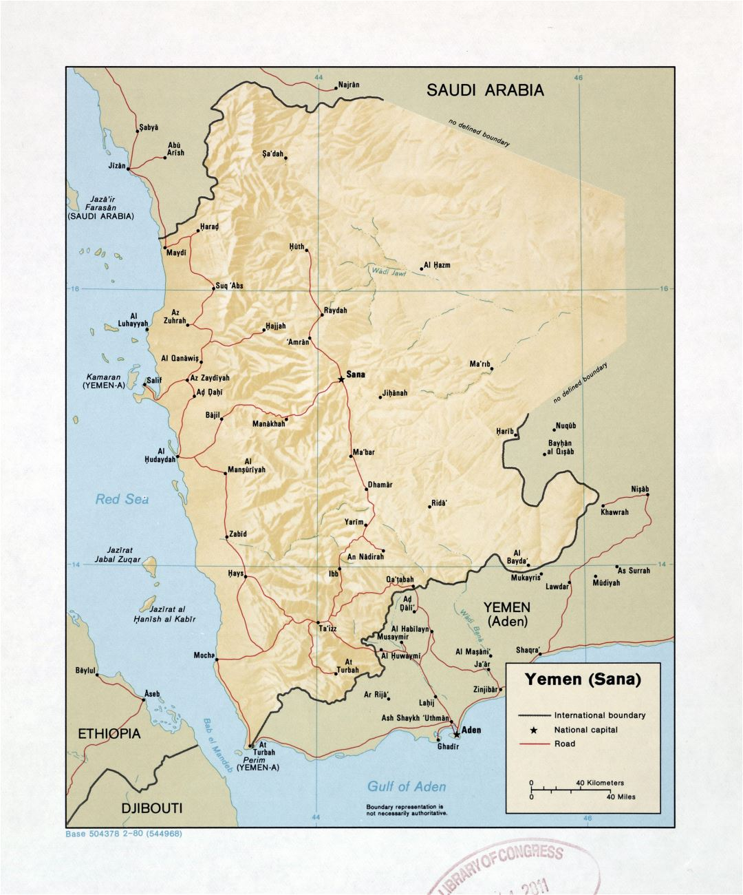 Large detailed map of Yemen (Sana) with relief, roads and cities - 1980