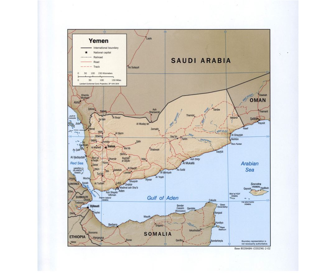 Large detailed political map of Yemen with relief, roads, railroads and major cities - 2002
