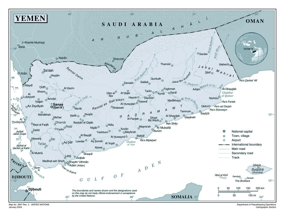 Large detailed political map of Yemen with roads, cities and airports