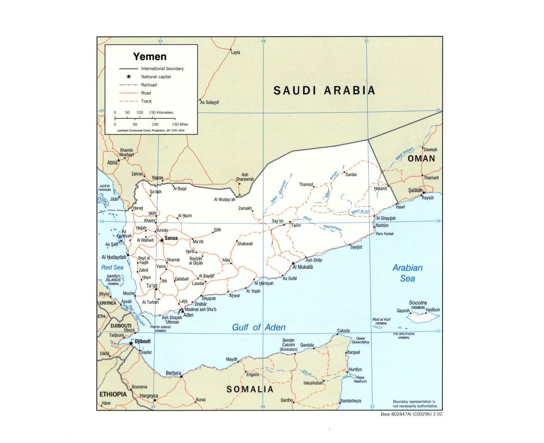 Large detailed political map of Yemen with roads, railroads and major cities - 2002