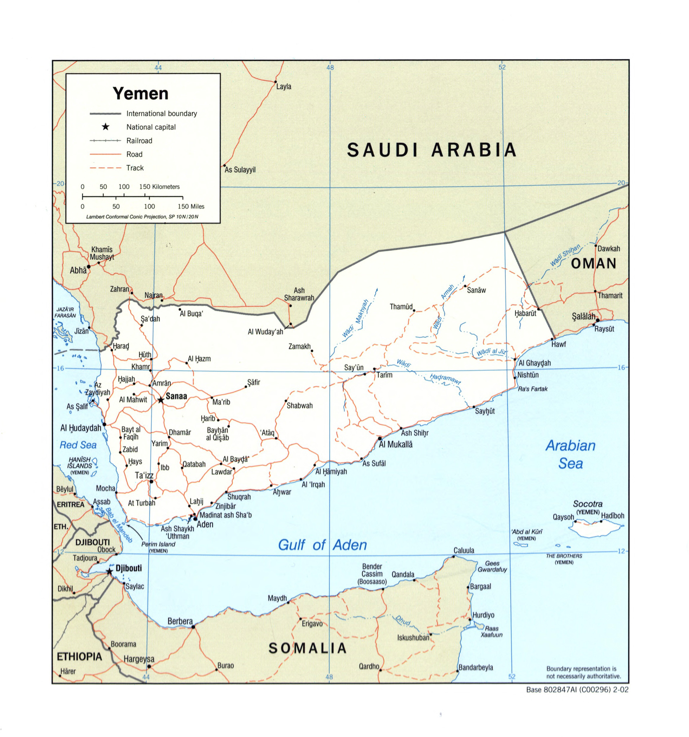 Large detailed political map of Yemen with roads railroads and