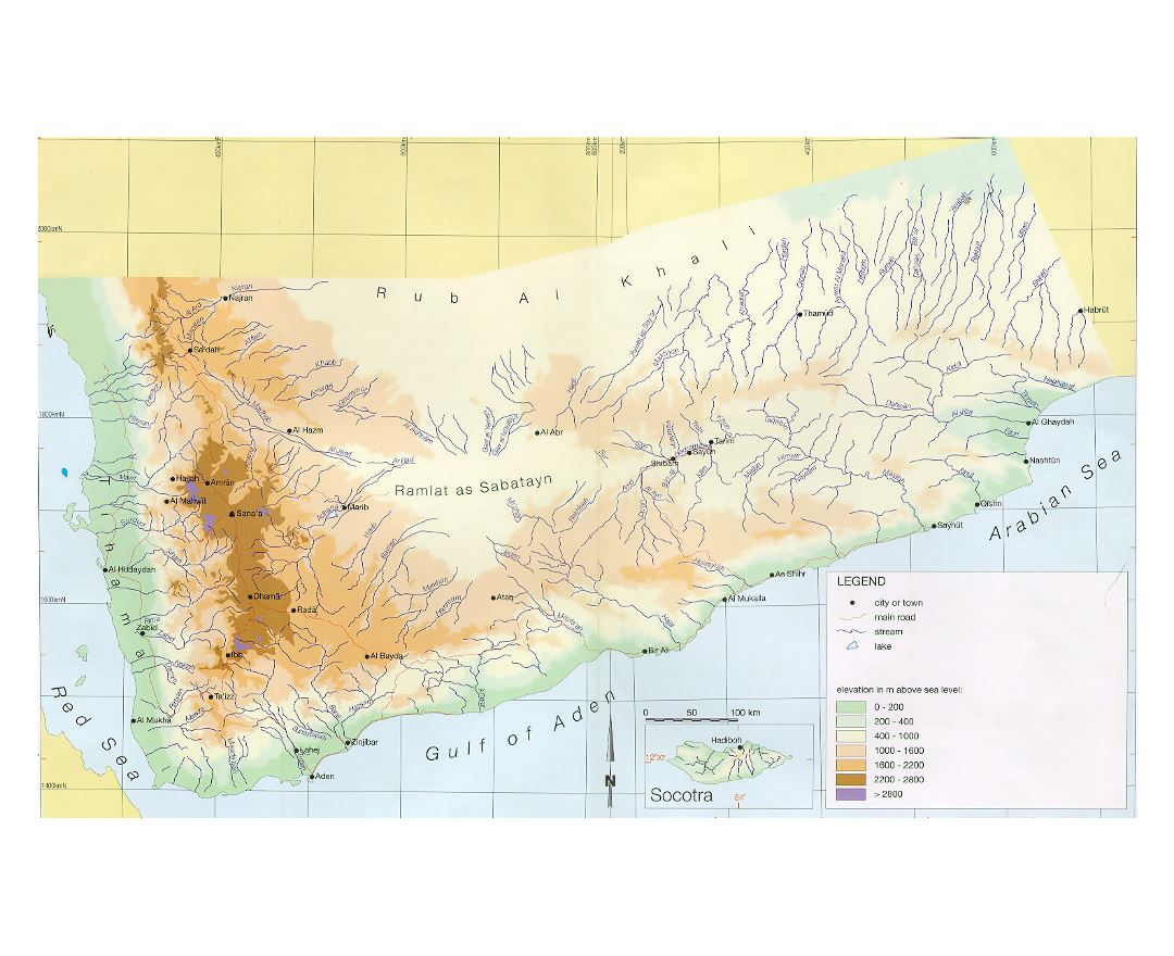Large elevation map of Yemen with other marks