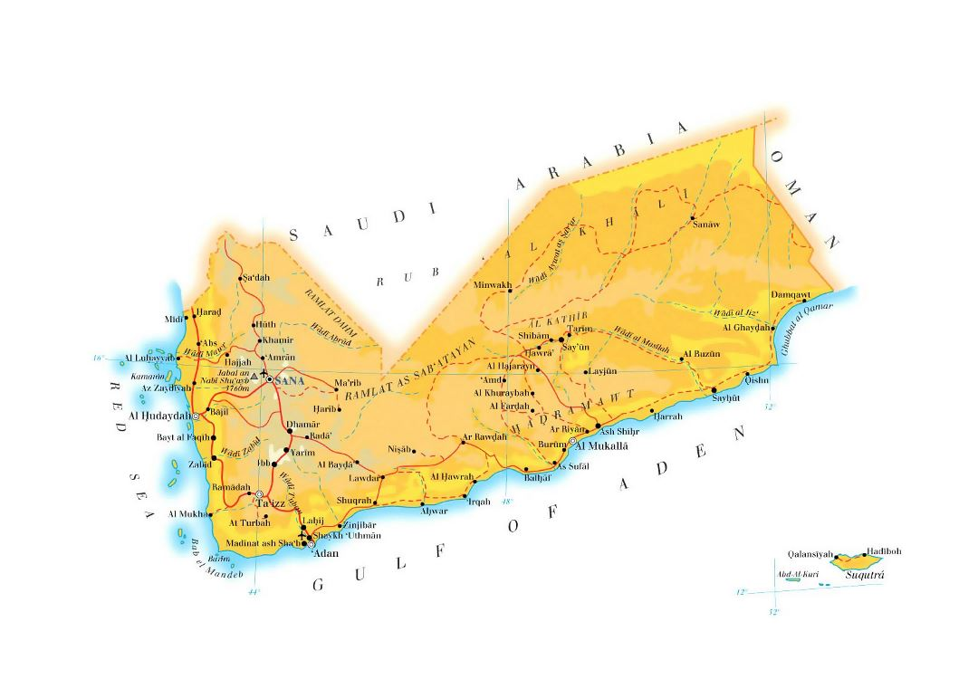 Large elevation map of Yemen with roads, cities and airports