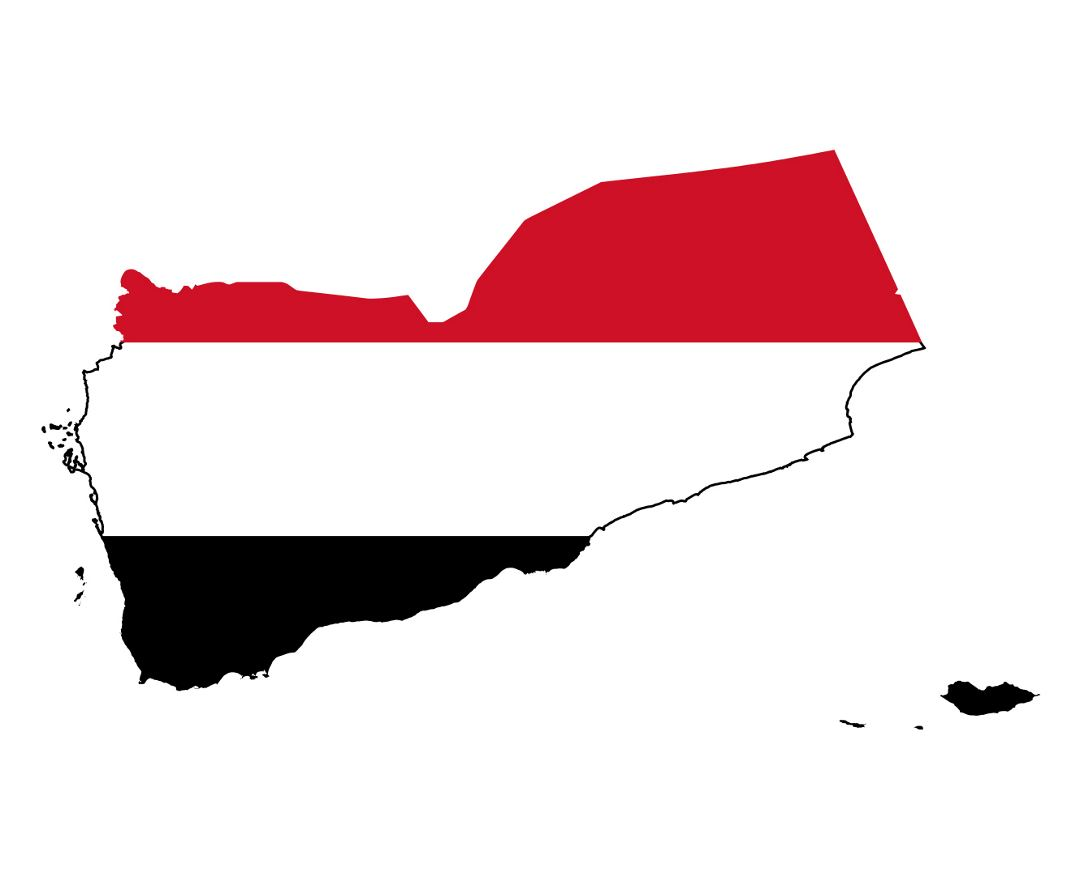 Large flag map of Yemen