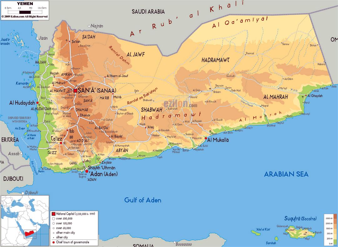 Large physical map of Yemen with roads, cities and airports