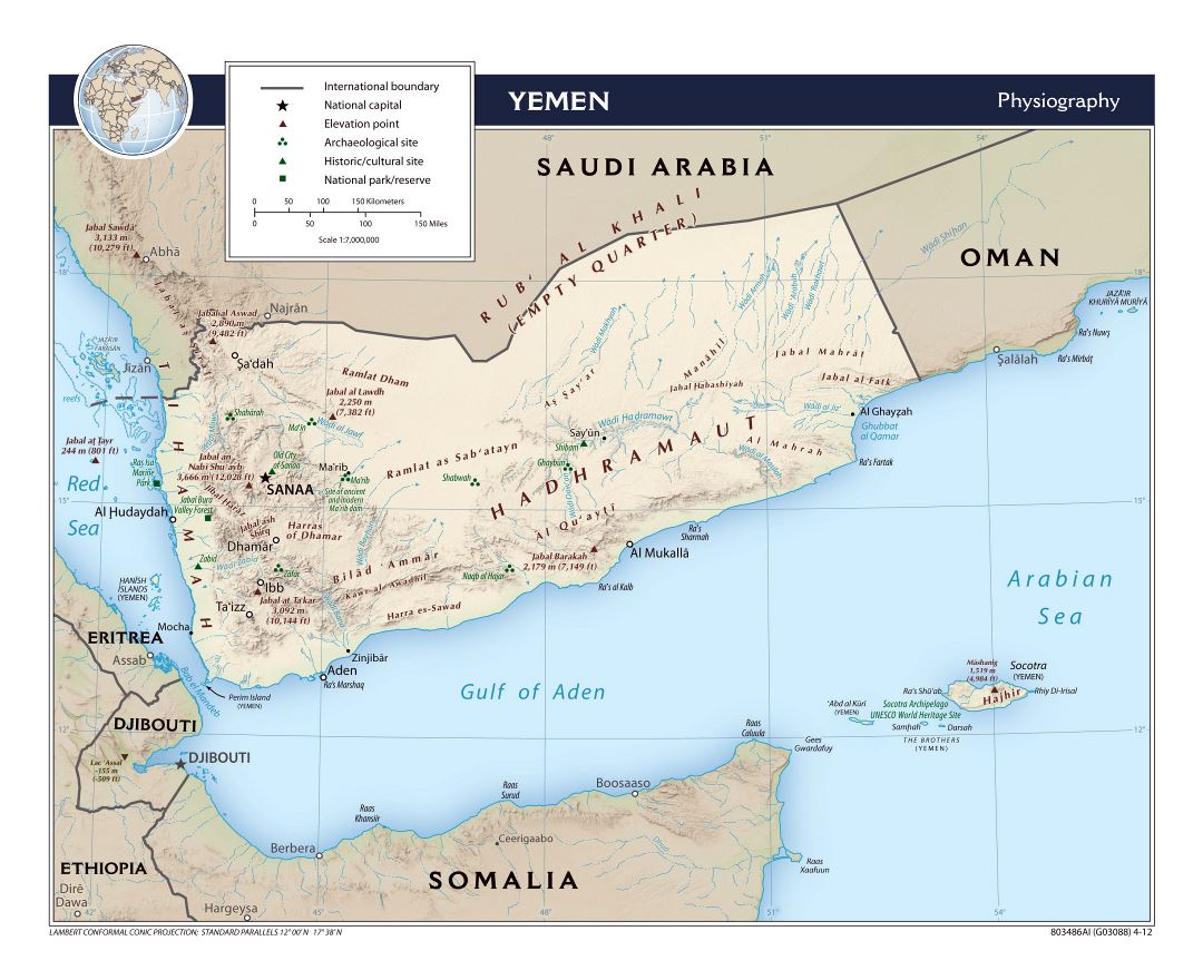 Large physiography map of Yemen - 2012