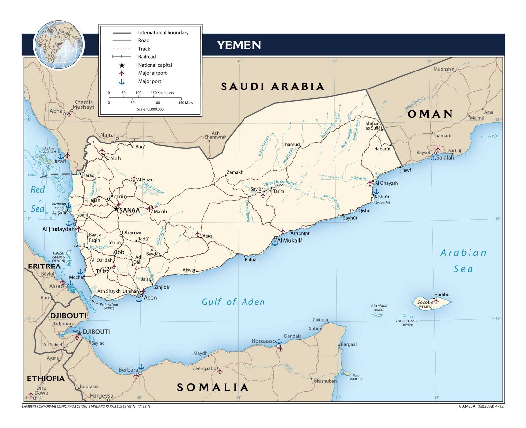 Large political map of Yemen with roads, railroads, major cities, ports and airports - 2012