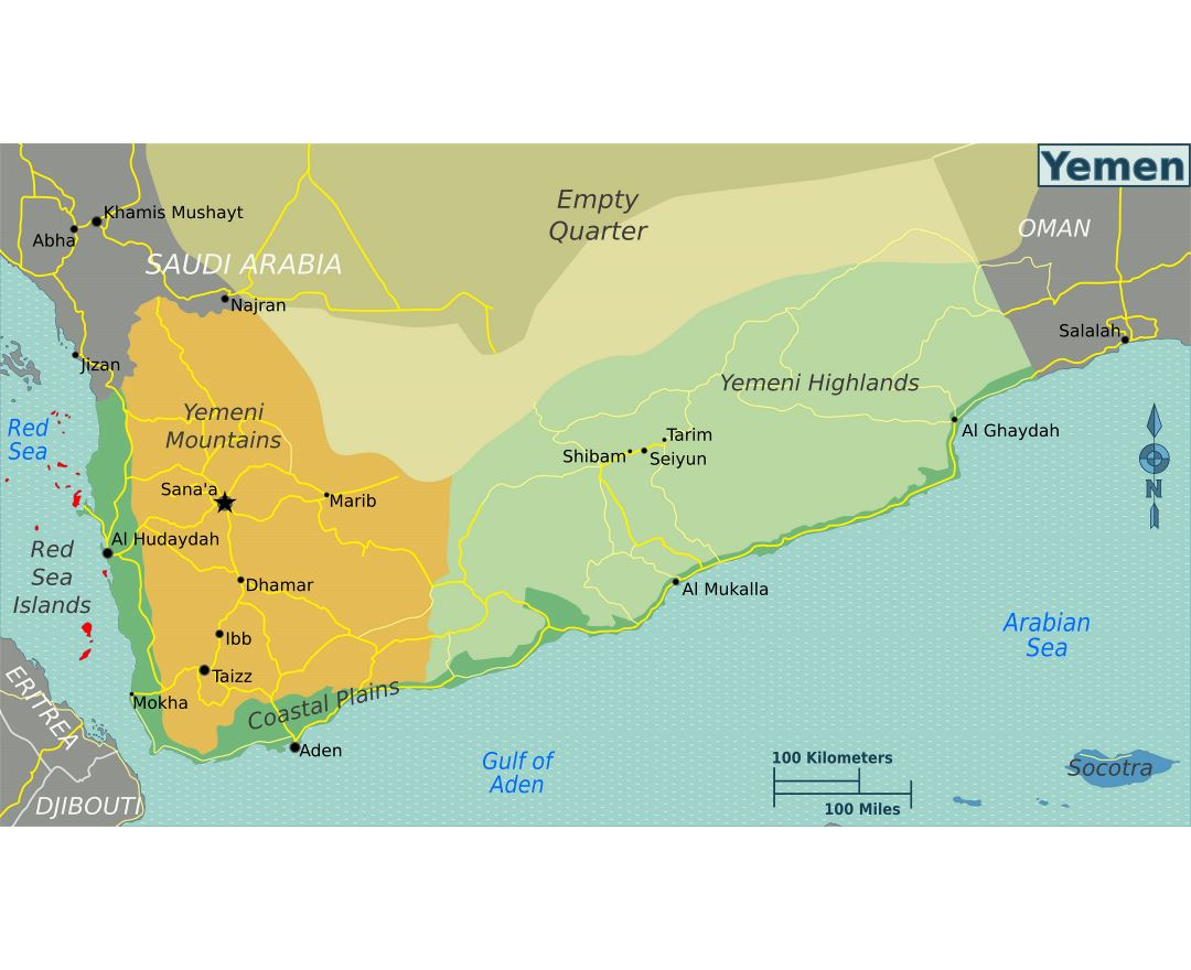 Large regions map of Yemen