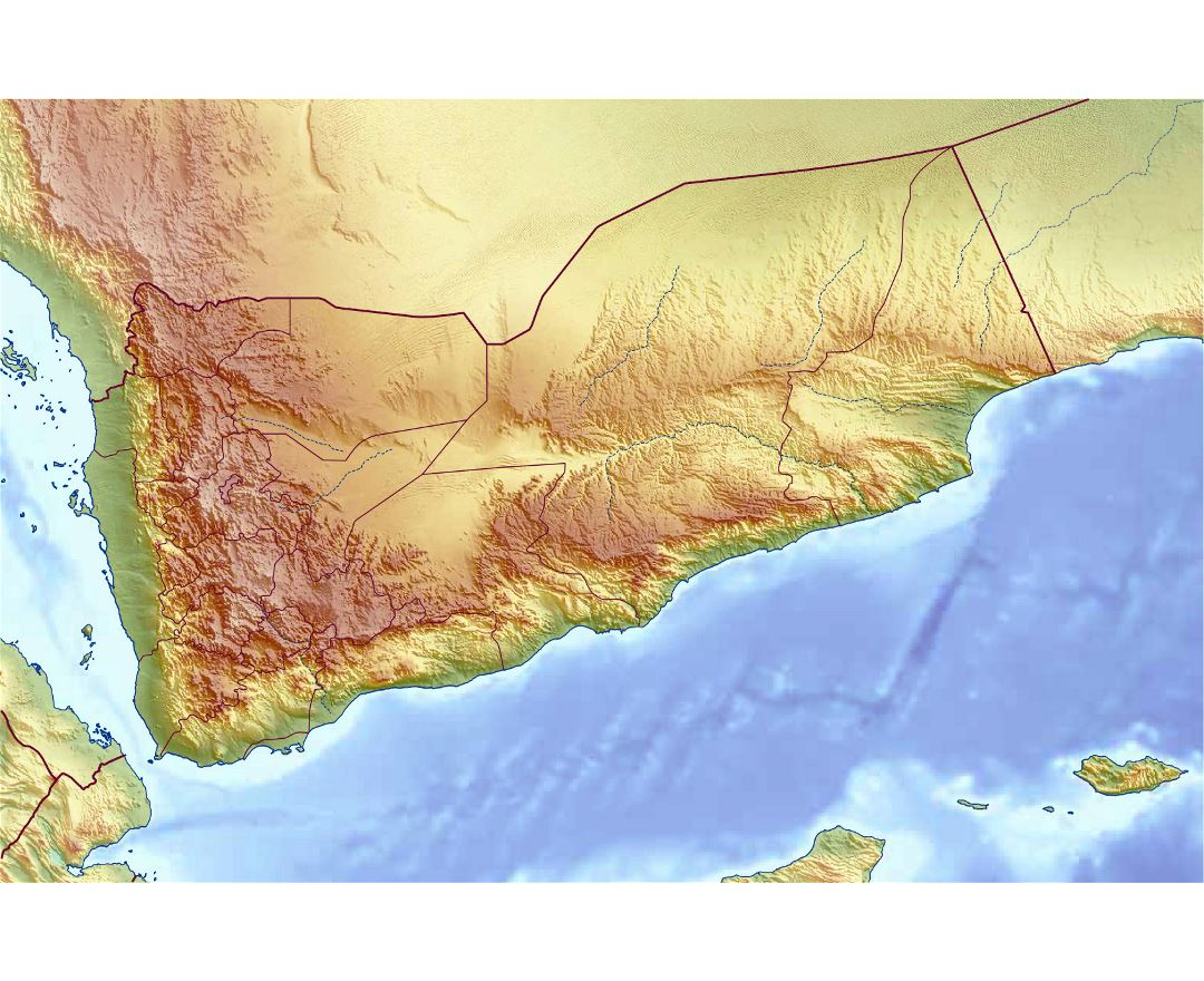 Large relief map of Yemen