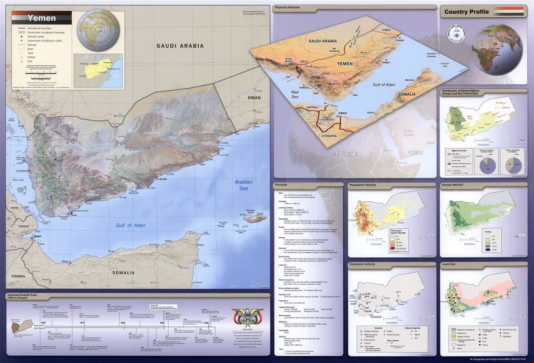Large scale country profile map of Yemen - 2002