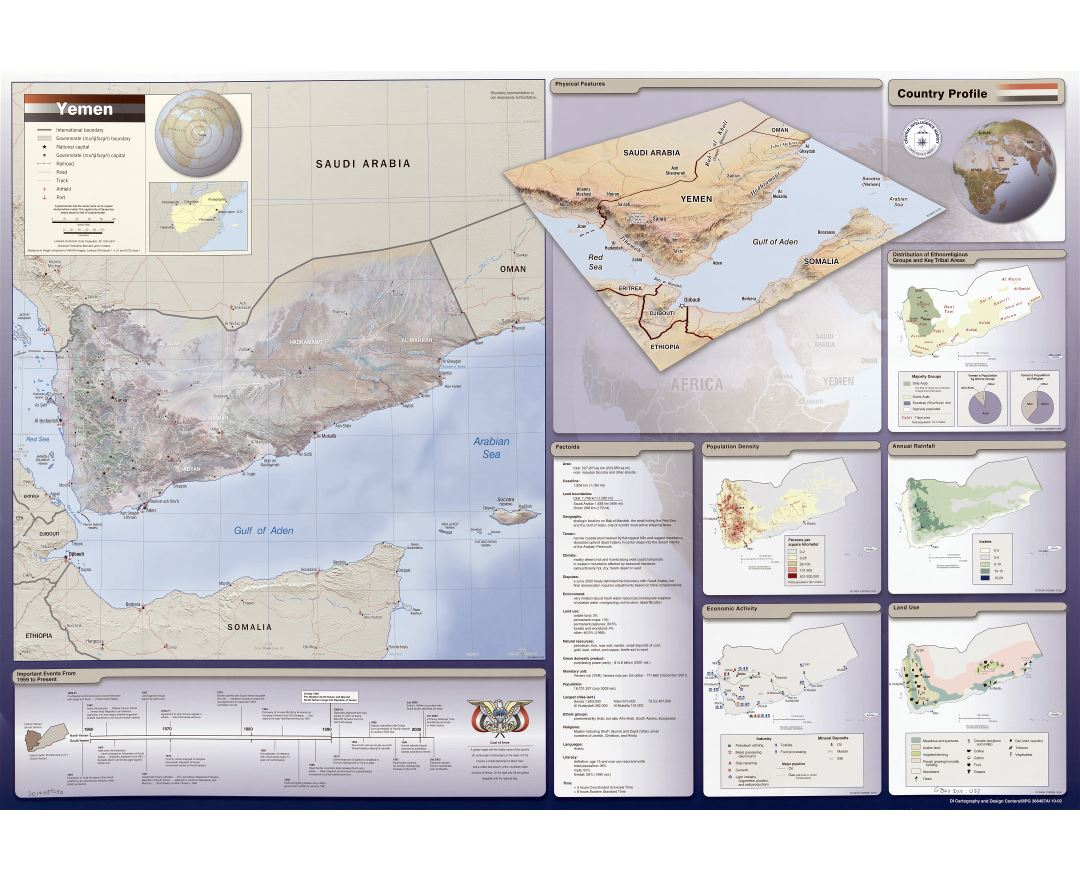 Large scale detailed country profile map of Yemen - 2002