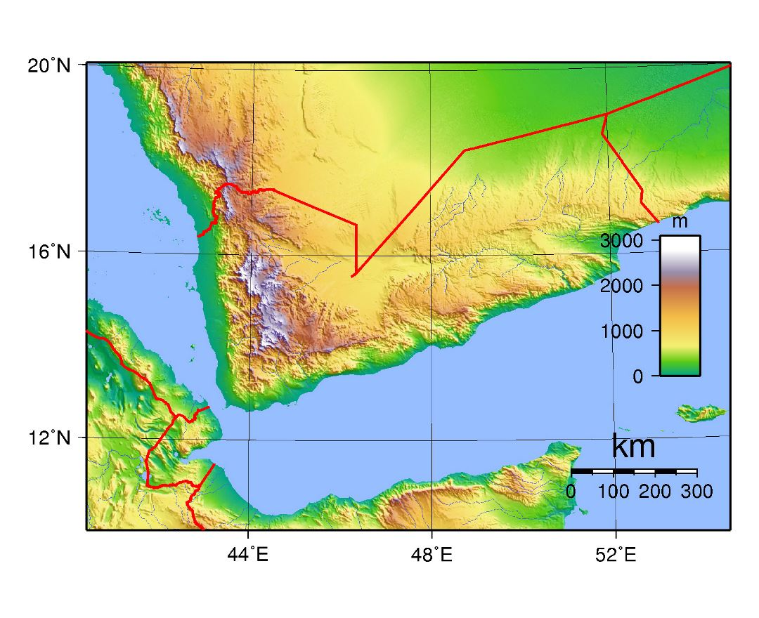 Large topographical map of Yemen