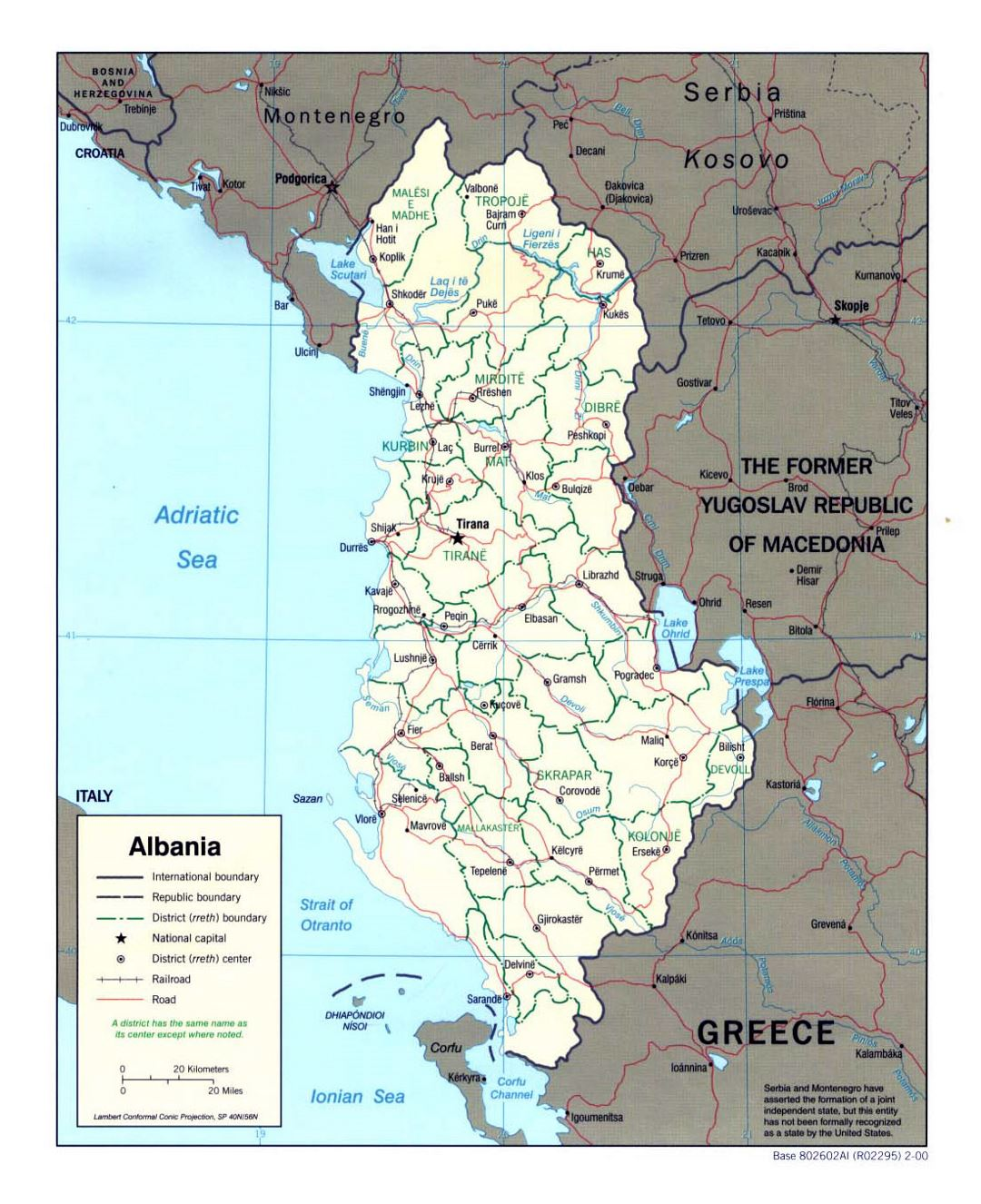 Detailed political and administrative map of Albania - 2000