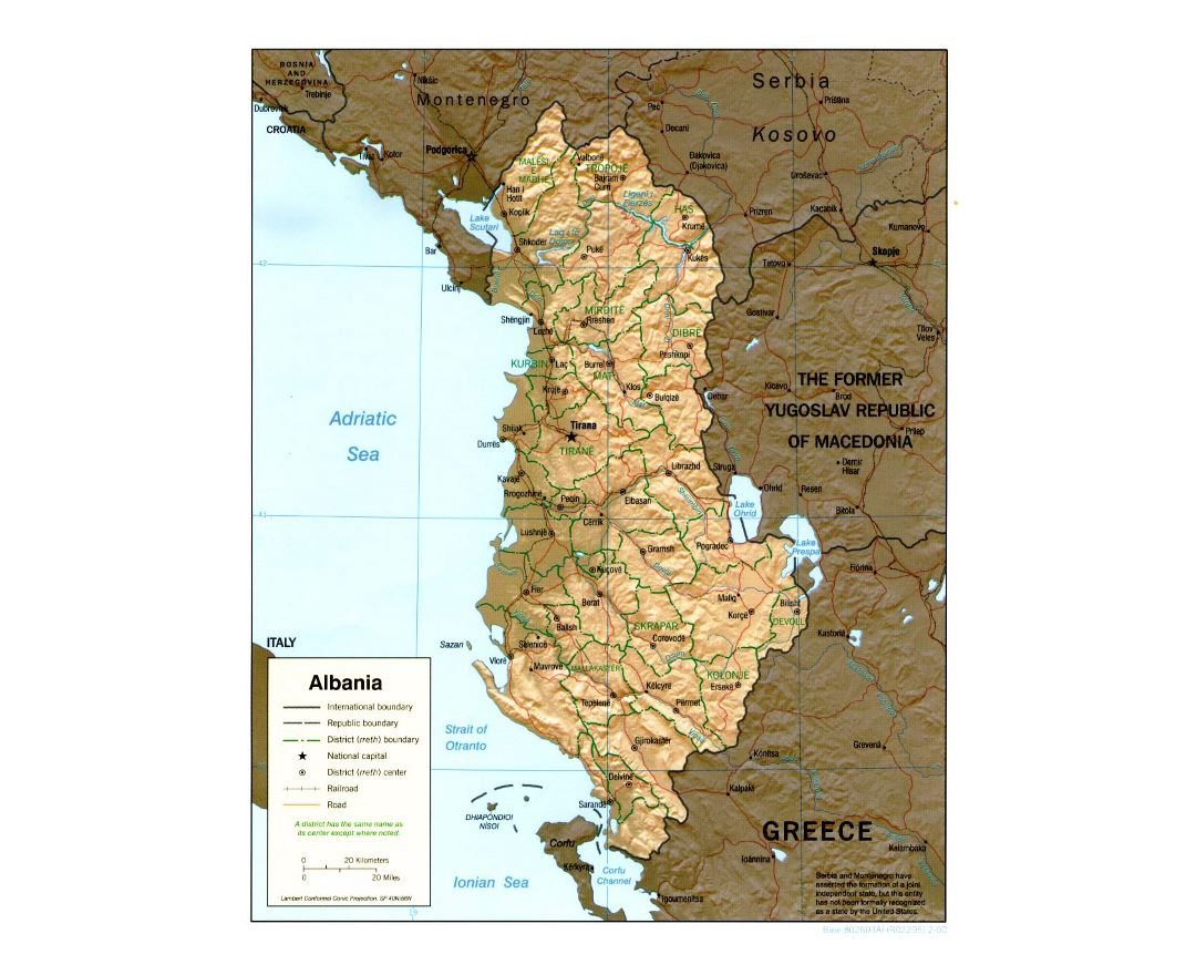 Detailed political and administrative map of Albania with relief - 2000